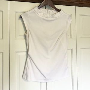 White short sleeve wide neck top